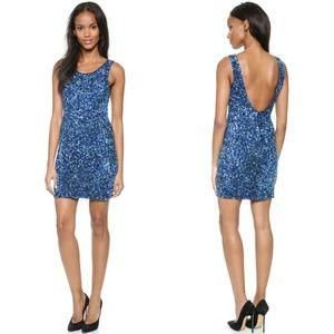Parker Kenzie Blue Sequin Mini Party Dress Small